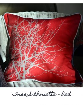 Tree Silhouette - Red Cushion