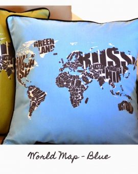 World Map - Blue Cushion